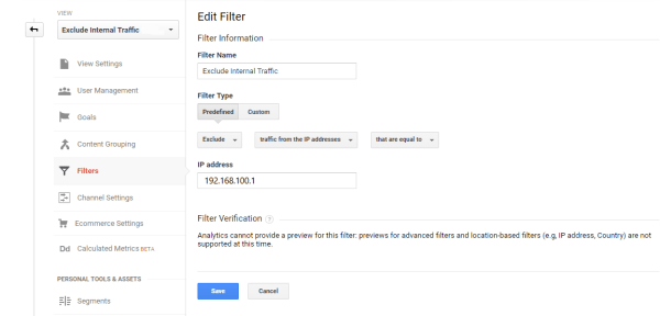 Create Filter Fixed IP